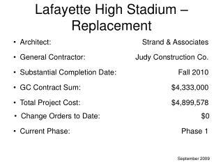 Lafayette High Stadium – Replacement