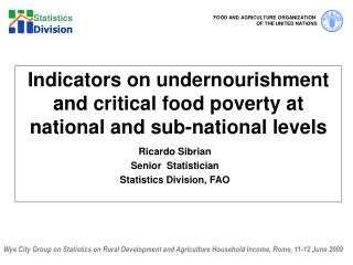 Indicators on undernourishment and critical food poverty at national and sub-national levels