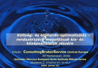 Költség- és erőforrás-optimalizálás –rendszerszerű megoldások kis- és középvállalatok részére