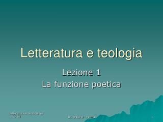 Letteratura e teologia