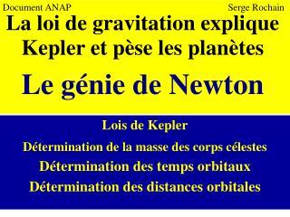 Lois de Kepler Détermination de la masse des corps célestes Détermination des temps orbitaux