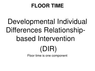 Application of DIR   Floortime:  Bridge between  DIR and Language Training