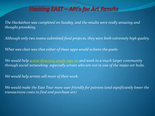 HackingEAST – API's for Art Results