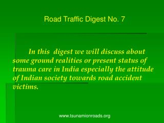 Road Traffic Digest No. 7