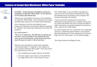 Features of Instant Data Warehouse 'White Paper' Available