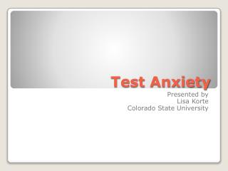 Test Anxiety for Students