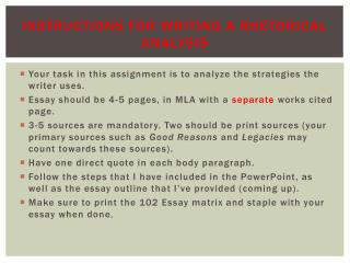 Instructions for Writing a Rhetorical Analysis