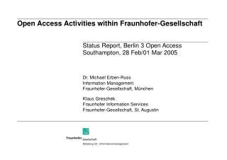 Open Access Activities within Fraunhofer-Gesellschaft