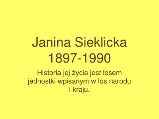 Janina Sieklicka 1897-1990