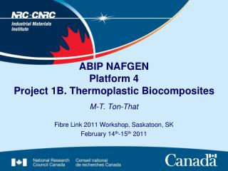 ABIP  NAFGEN Platform 4  Project 1B. Thermoplastic Biocomposites