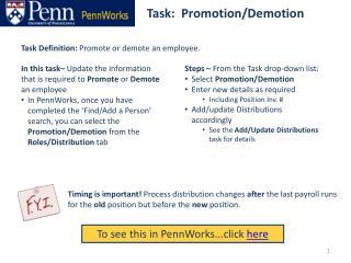 Task:  Promotion/Demotion