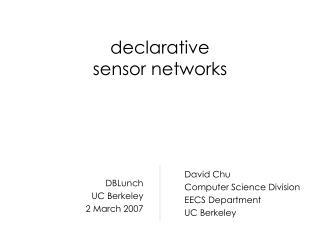 declarative sensor networks