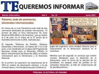 Panamá: sede de seminarios electorales internacionales