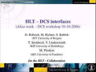 HLT – DCS interfaces (Alice week – DCS workshop 10-10-2006)