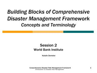 Building Blocks of Comprehensive Disaster Management Framework Concepts and Terminology