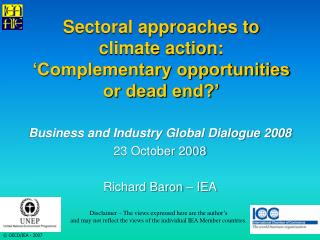 Sectoral approaches to  climate action: 'Complementary opportunities  or dead end?'