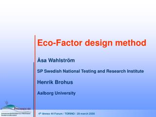 Eco-Factor design method