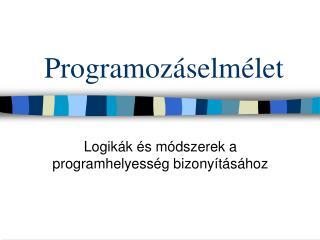 Programoz�selm�let