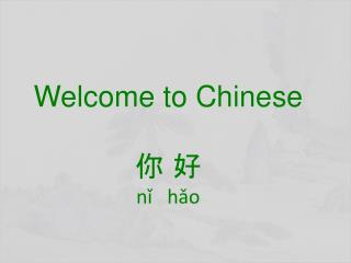 Welcome to Chinese  你 好 nǐ hǎo