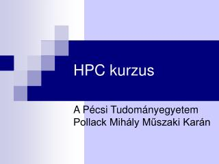 HPC kurzus