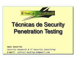 Técnicas de Security Penetration Testing