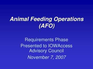 Animal Feeding Operations (AFO)