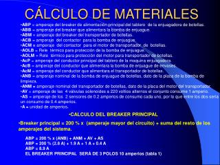 C LCULO DE MATERIALES
