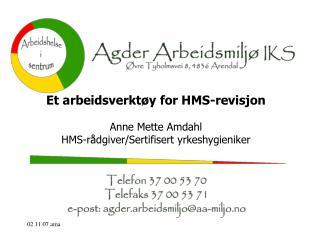 Et arbeidsverktøy for HMS-revisjon Anne Mette Amdahl HMS-rådgiver/Sertifisert yrkeshygieniker