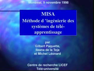 MISA Méthode d'ingénierie des systèmes de télé-apprentissage