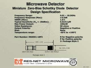 Microwave Detector Miniature  Zero-Bias Schottky Diode  Detector Design Specification