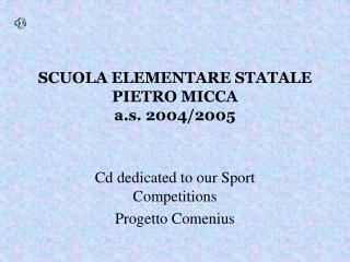 SCUOLA ELEMENTARE STATALE PIETRO MICCA a.s. 2004/2005