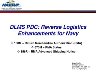 DLMS PDC: Reverse Logistics Enhancements for Navy