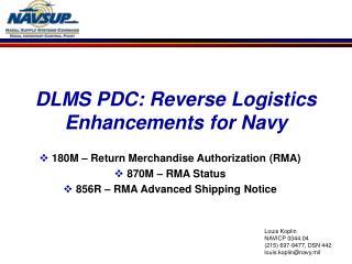 DLMS PDC: Reverse Logistics Enhancements for Navy