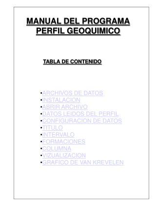 ARCHIVOS DE DATOS INSTALACION ABRIR ARCHIVO DATOS LEIDOS DEL PERFIL CONFIGURACION DE DATOS TITULO