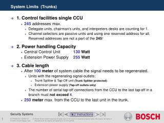 System Limits  (Trunks)