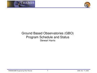Ground Based Observatories (GBO) Program Schedule and Status Stewart Harris
