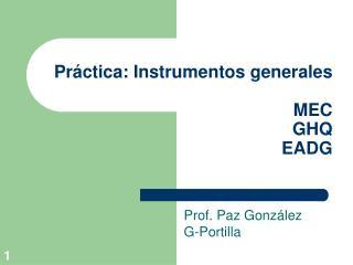 Práctica: Instrumentos generales MEC GHQ EADG