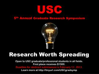 USC 5 th  Annual  Graduate Research Symposium
