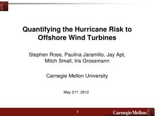 Quantifying the Hurricane Risk to Offshore Wind Turbines