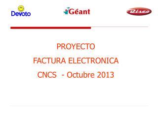 PROYECTO  FACTURA ELECTRONICA CNCS  - Octubre 2013