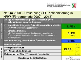 Natura 2000 – Umsetzung / EU-Kofinanzierung in NRW (Förderperiode 2007 – 2013)