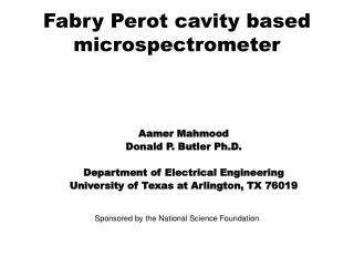 Fabry Perot cavity based microspectrometer