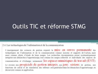 O utils TIC et réforme STMG