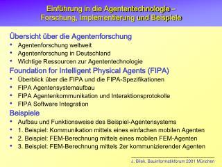 Einführung in die Agententechnologie –  Forschung, Implementierung und Beispiele