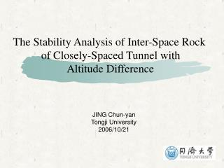 The Stability Analysis of Inter-Space Rock  of Closely-Spaced Tunnel with  Altitude Difference