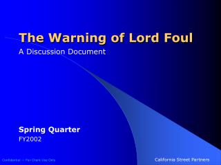 The Warning of Lord Foul