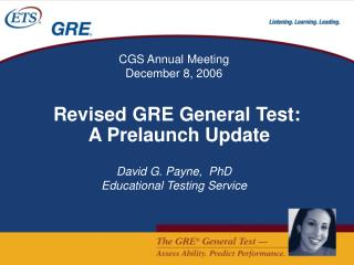 Revised GRE General Test: A Prelaunch Update