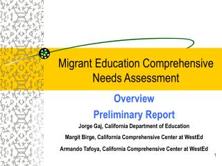 Migrant Education Comprehensive Needs Assessment