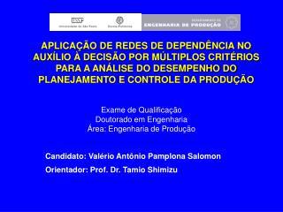 Exame de Qualificação Doutorado em Engenharia Área: Engenharia de Produção