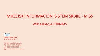 Muzejski informacioni sistem srbije  -  MISS WЕB  aplikacija ETERNITAS